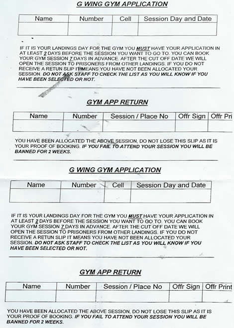 Prison gym application form