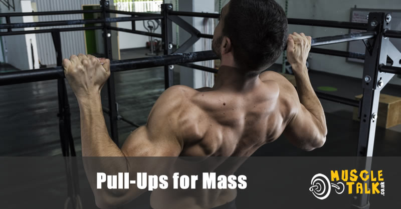 muscular man doing pull-ups in the gym