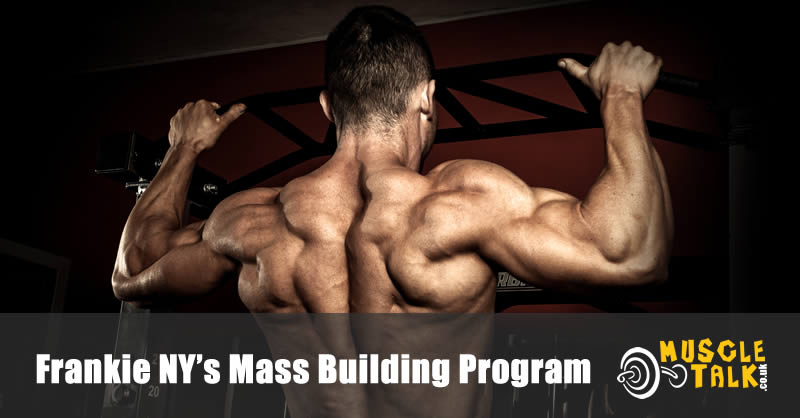 Bodybuilder training hard to build muscle mass