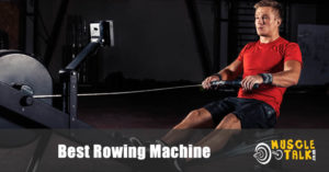 Man using a rowing machine to keep fit