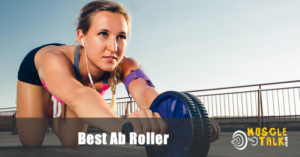 Girl exercising using an ab roller wheel