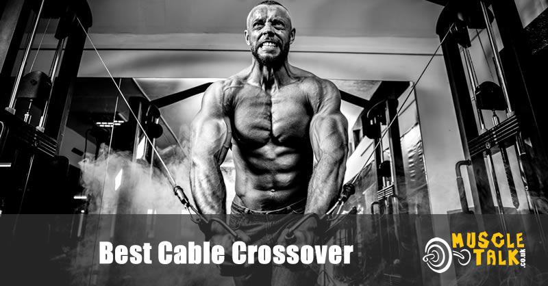 Man exercising chest using a cable crossover machine