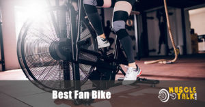 Someone using a fan bike in the gym