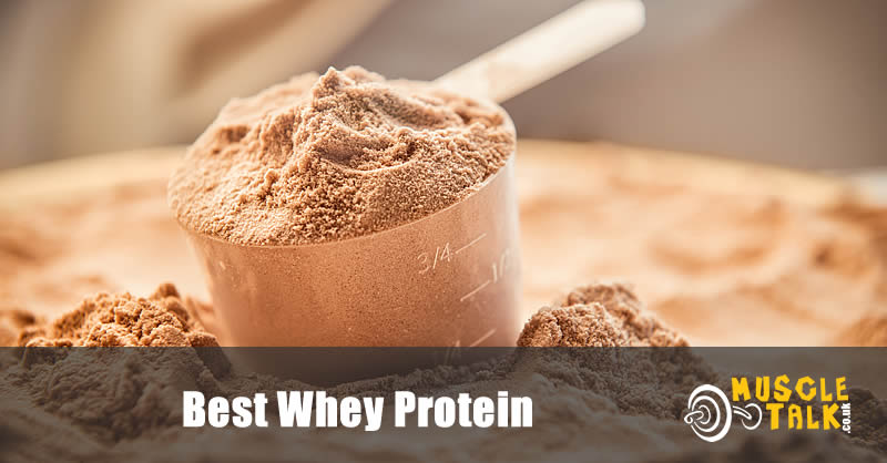 whey protein powder with scoop