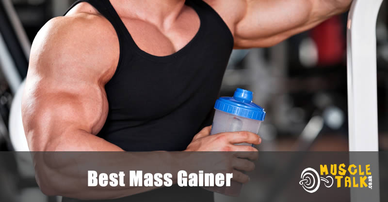 Huge bodybuilder having a mass gainer shake