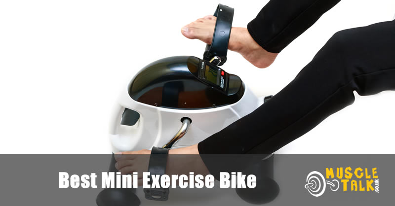 Someone using a mini exercise bike