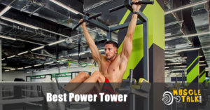 Man doing leg raises on a power tower