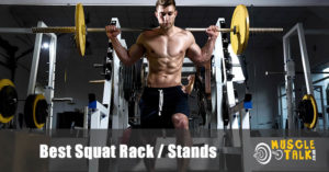 Man using a squat rack at the gym