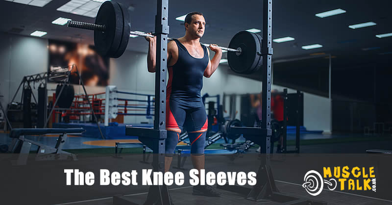Squatting in the gym using knee sleeves