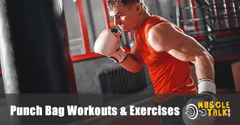 Man doing intense workout on a punch bag