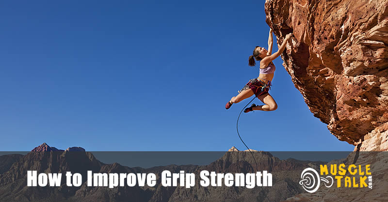 Rock climber hanging with very good grip