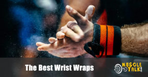 Weightlifter wearing wrist wraps and getting ready to lift