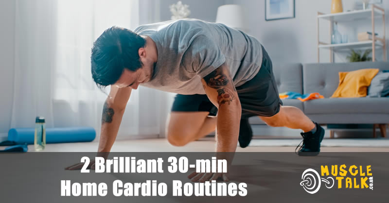 Man doing mountain climbers as part of a home cardio routine