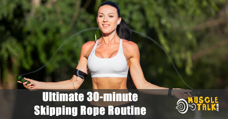 Woman skipping outside doing an intense routine