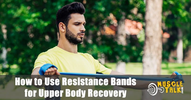 Training with resistance bands in the park focusing on upper body