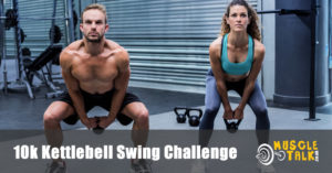 man and woman swinging kettlebells