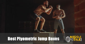 man using a plyometric jump box
