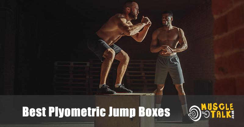 man using a plyometric jump box