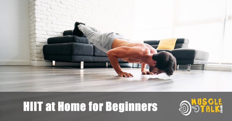 man doing pushups as part of a home HIIT workout
