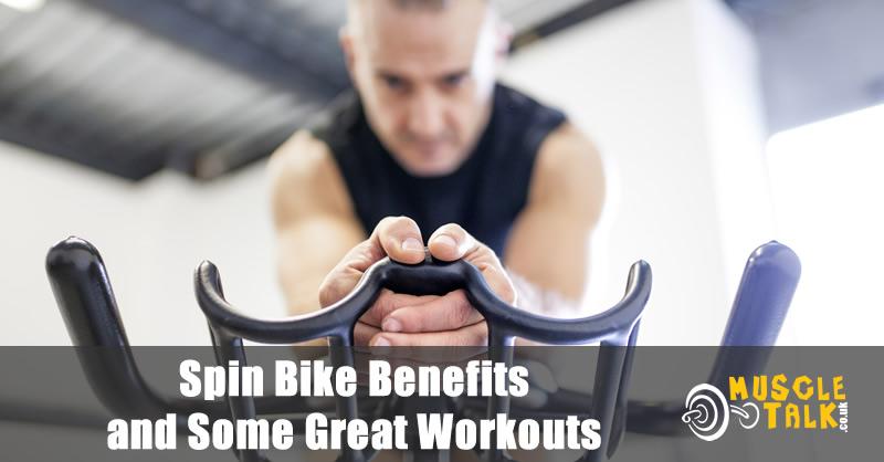 Man training hard on a spin bike