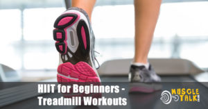Beginner doing a HIIT workout on a treadmill